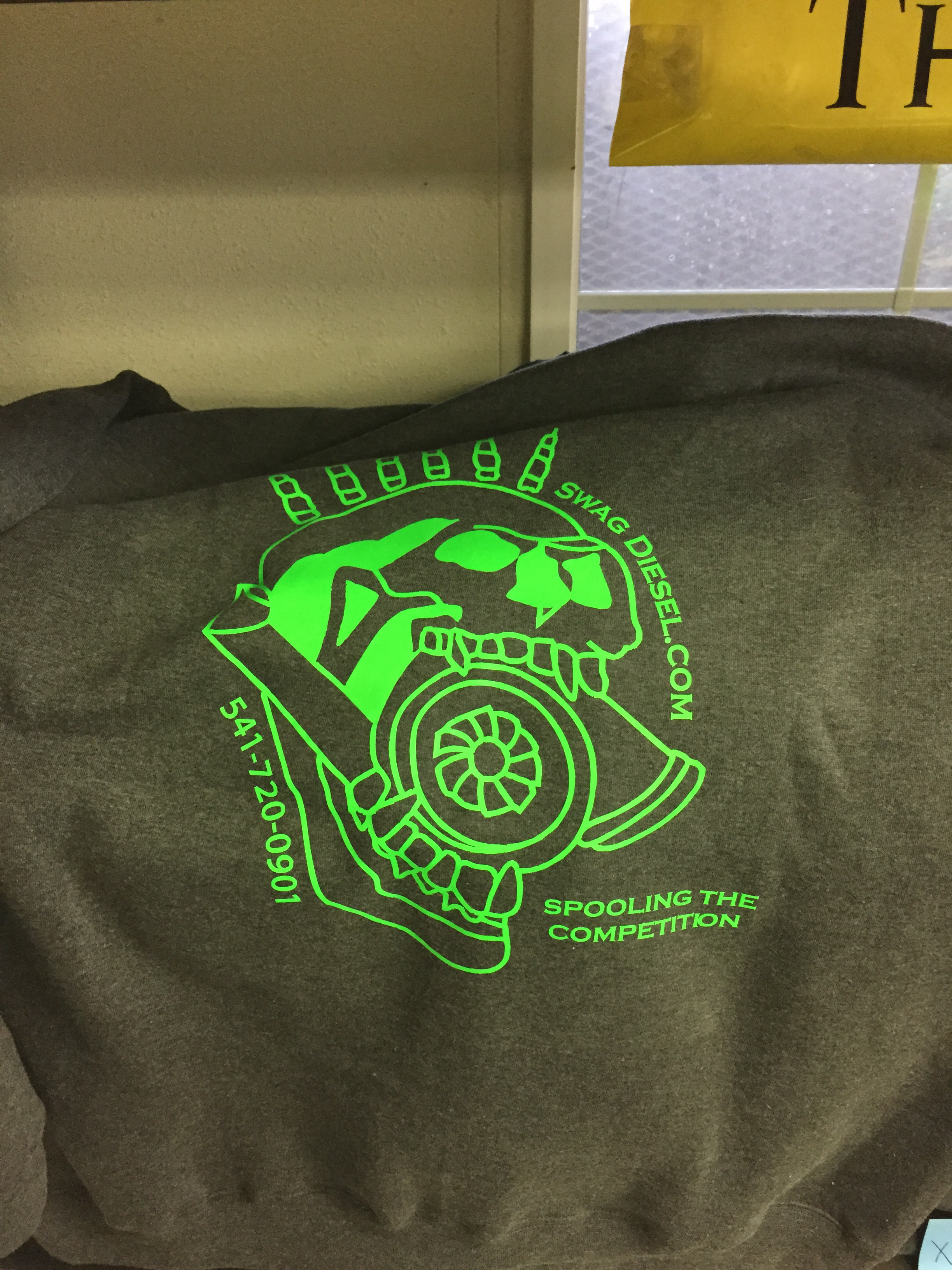 SWAG DIESEL SWEAT SHIRT GREY WITH NEON GREEN INK